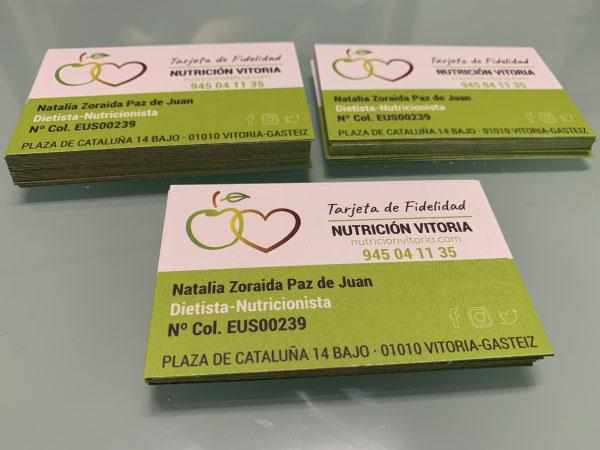 Diseño tarjetas de fidelización | Nutrición Vitoria | Vitoria-Gasteiz