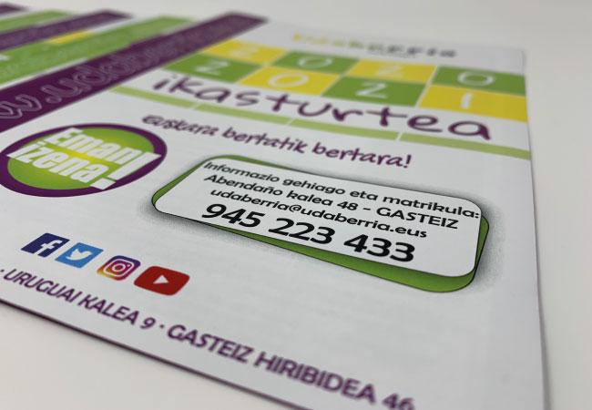 Diseño de dípticos y flyers para Udaberria Euskaltegia | ALUNARTE diseño y comunicación | Vitoria-Gasteiz