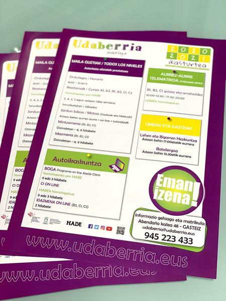 Diseño de carteles en Vitoria-Gasteiz para Udaberria Euskaltegia | ALUNARTE diseño y comunicación