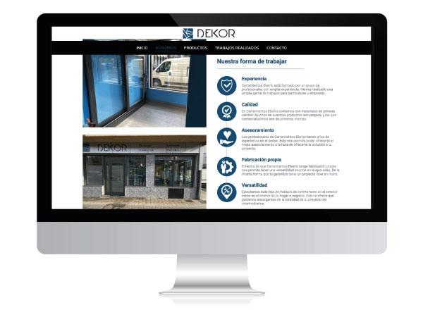 Diseño de página web para empresa de cerramientos - DEKOR - ALUNARTE diseño y comunicación